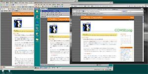 Windows XPマシン上でFirefox1.5(XP版)とIE5.5(98版)とSafariを一緒に表示してみた、の図